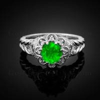 14K White Gold Braided Halo Emerald CZ Engagement Ring With Diamond Accents