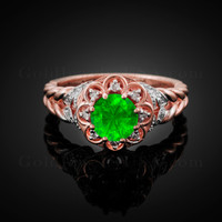 14K Rose Gold Braided Halo Emerald CZ Engagement Ring With Diamond Accents