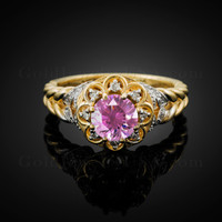 14K Gold Braided Halo Pink CZ Engagement Ring With Diamond Accents