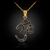 14k Gold Om Black Diamond Pendant Necklace