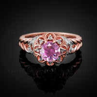 14K Rose Gold Braided Halo Pink CZ Engagement Ring With Diamond Accents