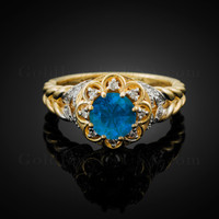 14K Gold Braided Band Blue Topaz Gemstone Halo Diamond Ring