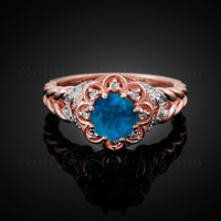 14K Rose Gold Braided Band Blue Topaz Gemstone Halo Diamond Ring