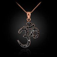 14k Rose Gold Om Black Diamond Necklace