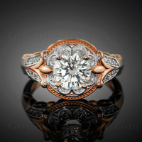 Rose gold Fleur-de-lis clear CZ birthstone ring (Aug)
