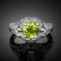 White gold Peridot gemstone ring