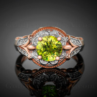 Rose gold Peridot gemstone ring (Aug)