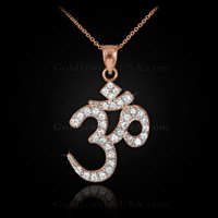 Rose gold diamond om necklace