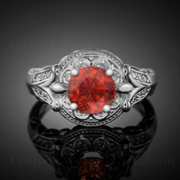 14K White Gold Fleur-de-Lis Band Garnet Solitaire Halo Diamond Engagement Ring