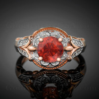 14K Rose Gold Fleur-de-Lis Band Garnet Solitaire Halo Diamond Engagement Ring