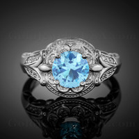 14K White Gold Fleur-de-Lis Band Aquamarine Halo Diamond Engagement Ring