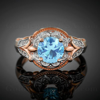 14K Rose Gold Fleur-de-Lis Band Aquamarine Halo Diamond Engagement Ring