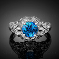 14K White Gold Blue Topaz Solitaire Fleur-de-Lis Halo Diamond Engagement Ring