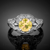 14K White Gold Citrine Gemstone Solitaire Fleur-de-Lis Halo Diamond Engagement Ring