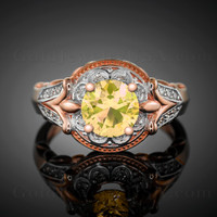 14K Rose Gold Citrine Gemstone Solitaire Fleur-de-Lis Halo Diamond Engagement Ring