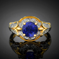 Blue Sapphire diamond setting engagement ring