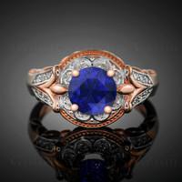 14K Rose Gold Blue Sapphire Solitaire Fleur-de-Lis Halo Diamond Engagement Ring