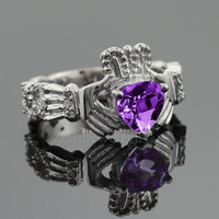 White Gold Amethyst Birthstone Diamond Claddagh Ring