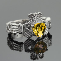White Gold Citrine Birthstone Diamond Celtic Band Claddagh Engagement Ring