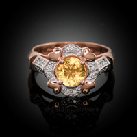 Rose Gold Halo Heart Diamond Setting Citrine Solitaire Engagement Ring