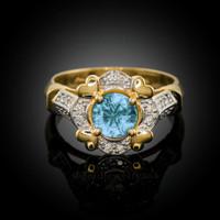 Gold Aquamarine Gemstone Engagement Ring with Diamond Setting.