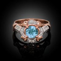 Rose Gold Aquamarine Gemstone Engagement Ring with Diamond Setting.