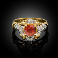 Gold Red Garnet Gemstone Engagement Ring with Diamond Setting.