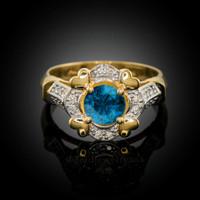 Gold Topaz Gemstone Engagement Ring with Diamond Setting.