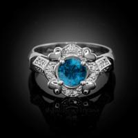 White Gold Topaz Gemstone Engagement Ring with Diamond Setting.