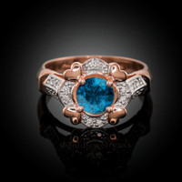 Rose Gold Topaz Gemstone Engagement Ring with Diamond Setting.