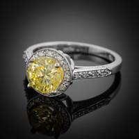 14K White Gold Citrine Solitaire Halo Diamond Setting Engagement Ring