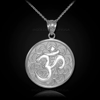 White Gold Om Medallion Pendant Necklace