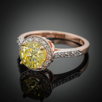 14K Rose Gold Citrine Solitaire Halo Diamond Setting Engagement Ring