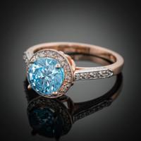 14K Rose Gold Aquamarine Solitaire Halo Diamond Setting Engagement Ring