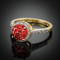 14K Gold Garnet Solitaire Halo Diamond Setting Engagement Ring