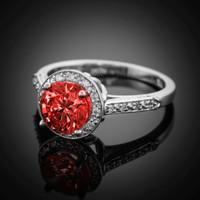 14K White Gold Garnet Solitaire Halo Diamond Setting Engagement Ring