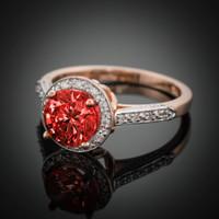 14K Rose Gold Garnet Solitaire Halo Diamond Setting Engagement Ring