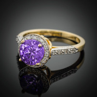 14K Gold Amethyst Solitaire Halo Diamond Setting Engagement Ring