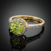 14K Peridot engagement ring