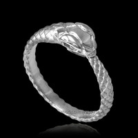 White Gold Ouroboros ladies ring.