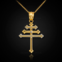Gold Maronite Aramaic Cross Diamond Pendant Necklace