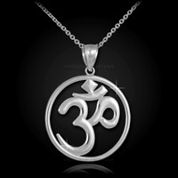 White Gold Om Open Medallion Pendant Necklace