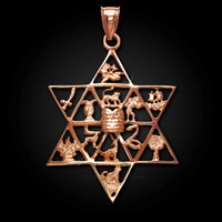 Rose Gold Star of David 12 Tribes of Israel Pendant