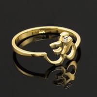 Dainty Gold Om Diamond Ring