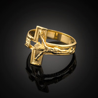 Gold Open Crucifix Cross Ring