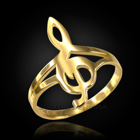 Gold G-Clef Treble Music Note Ring