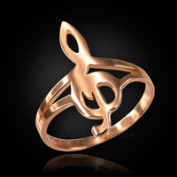 Rose Gold G-Clef Treble Music Note Ring