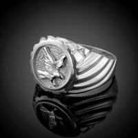 White Gold American Eagle Men's Ring