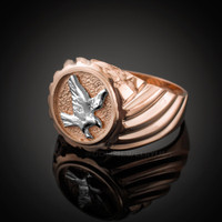 Rose Gold American Eagle Men's Ring