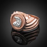 Rose Gold Eagle Head Men's Ring